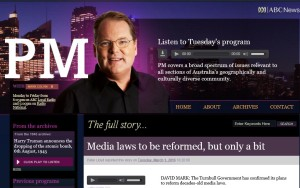 Peter Cox interviewed on PM about Media changes